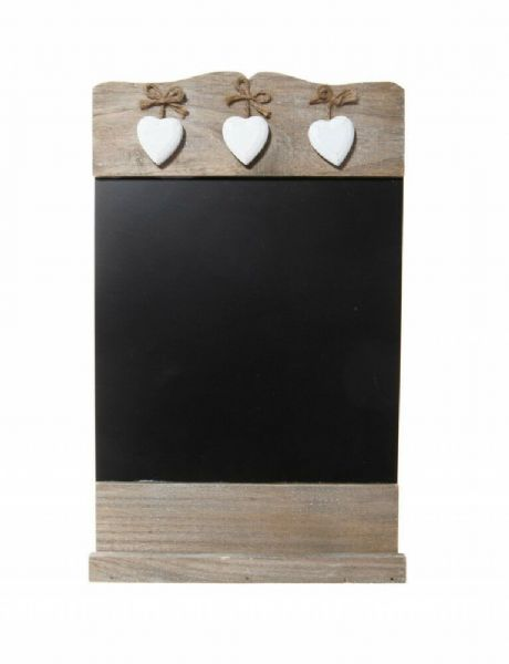 Black Chalkboard With Wooden Hearts